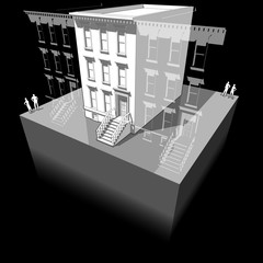diagram of a typical american townhouse