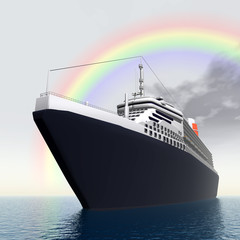 Ocean Liner with Rainbow