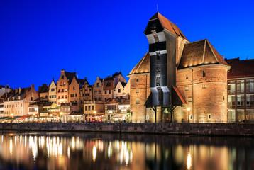 Obraz Stare miasto na Motławie w Gdańsku w nocy - fototapety do salonu