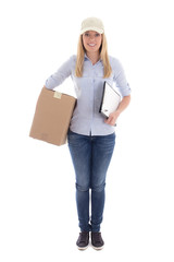 young woman delivering package holding clipboard isolated on whi