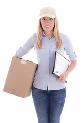young woman with clipboard delivering package isolated on white