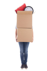 woman with two big cardboard moving boxes isolated on white