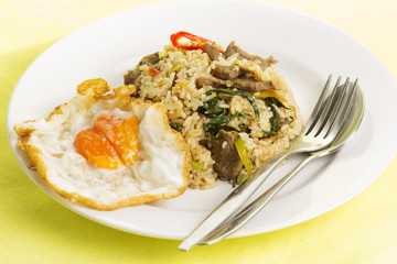 Fried rice with beef chili and basil