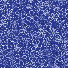 white chamomile flowers seamless pattern