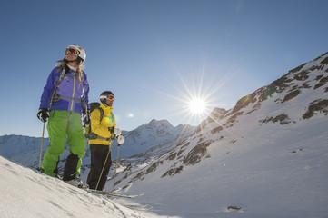 alpine skiing - two skiiers before start