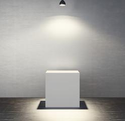 White presentation cube