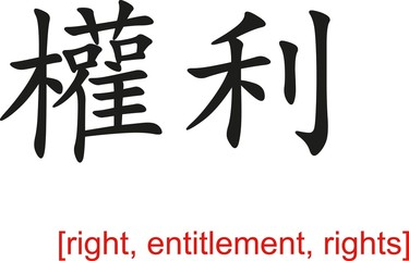 Chinese Sign for right, entitlement, rights