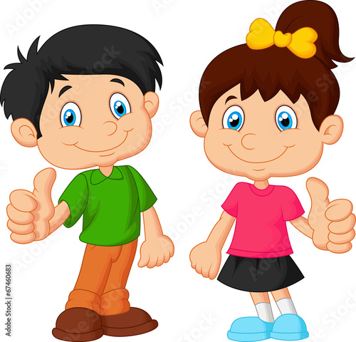 cartoon boy and girl giving thumb up - Cartoon Boy Images Free