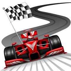 Photo on textile frame Draw Formula 1 Red Car on Race Track