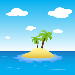 Illustration of island in the ocean with two palms