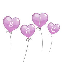 Vector Illustration of a Sale Design with Balloons