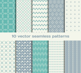 10 retro vector seamless patterns. Set of tiled geometric orname