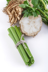 celery from domestic gardens on a white background
