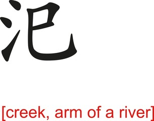 Chinese Sign for creek, arm of a river