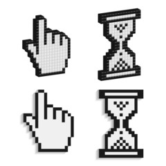 Pixel cursors icons, 3D pointing hand and hourglass