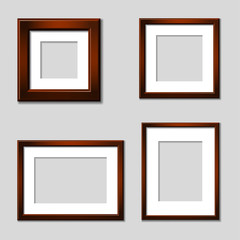 Vector wooden mahogany picture frames