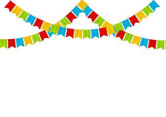 Color party flags on white background
