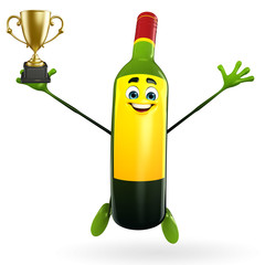 Wine Bottle Character with trophy
