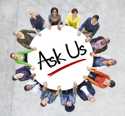 """Multiethnic People in Circle with """"Ask Us"""" Concept"""