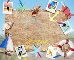 Hanging Signboard with Summer Objects and Photos on Beach