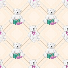 White teddy bear color seamless background. Vector