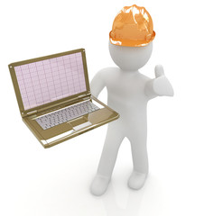 3D small people - an engineer with the laptop
