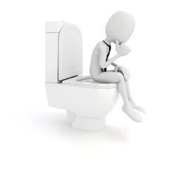 3d man businessman on toilet