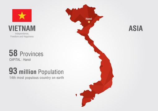 Vietnam world map with a pixel diamond texture.