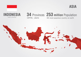 Wall Mural - Indonesia world map with a pixel diamond texture.