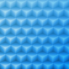 Abstract vector shape blue background made with isometric cubes