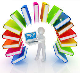 Colorful books like the rainbow and 3d man with laptop