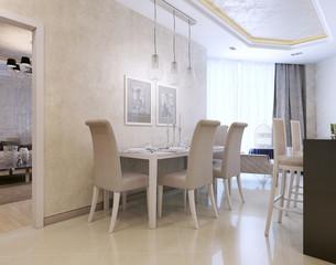 Kitchen luxury interior, Art Deco style
