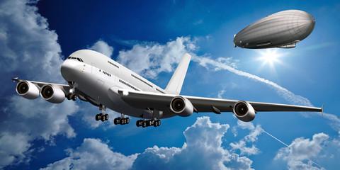 Großraumflugzeug mit Zeppelin am Himmel
