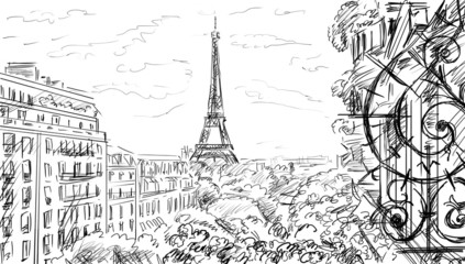 Street in paris. Eiffel tower -sketch  illustration