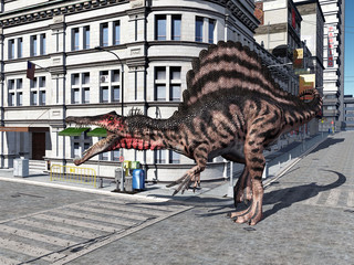 The Dinosaur Spinosaurus in the City