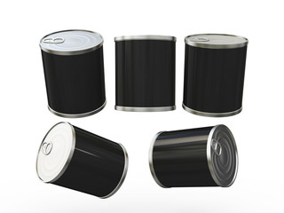 Black blank label food can with pull tab, clipping path included