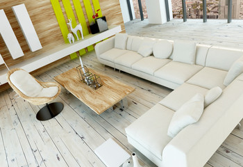 Rustic living room interior with white floorboards