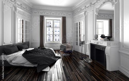 """Schlafzimmer In Einem Alten Vintage Zimmer Mit Stuck"""" Stockfotos"""