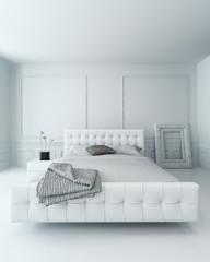 Pure white luxury bedroom interior