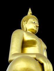Golden Seated Buddha Image on Solid Black Background