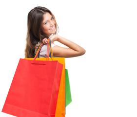 Beautiful woman holding shopping bags