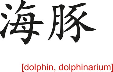 Chinese Sign for dolphin, dolphinarium