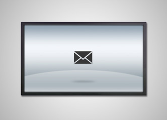 TV display with email letter icon