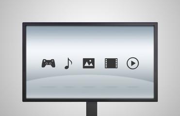 desktop Monitor display with entertainment icon