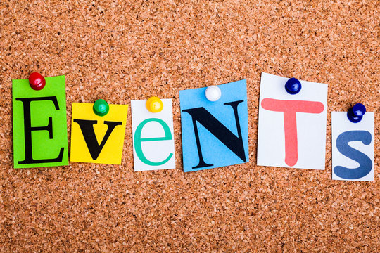 The word EVENTS on a bulletin board