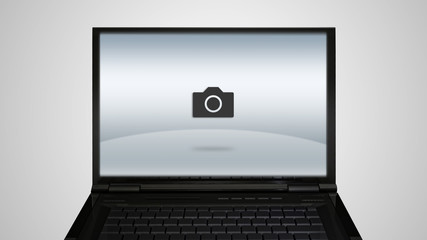 laptop monitor display with photo icon