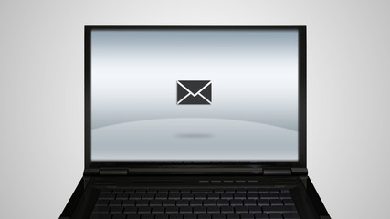 laptop monitor display with email letter icon