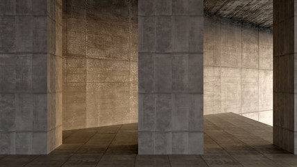 dark blank interior scene concrete wall