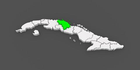 Map of Villa Clara. Cuba.
