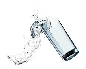 Glass splashing water